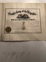 1890 Grand Army of the Republic Aide De Camp Certificate Signed and Sealed - $292.05