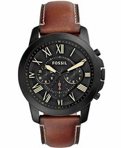 Fossil Men's Grant Quartz Stainless Steel and Leather Chronograph Watch - $135.79