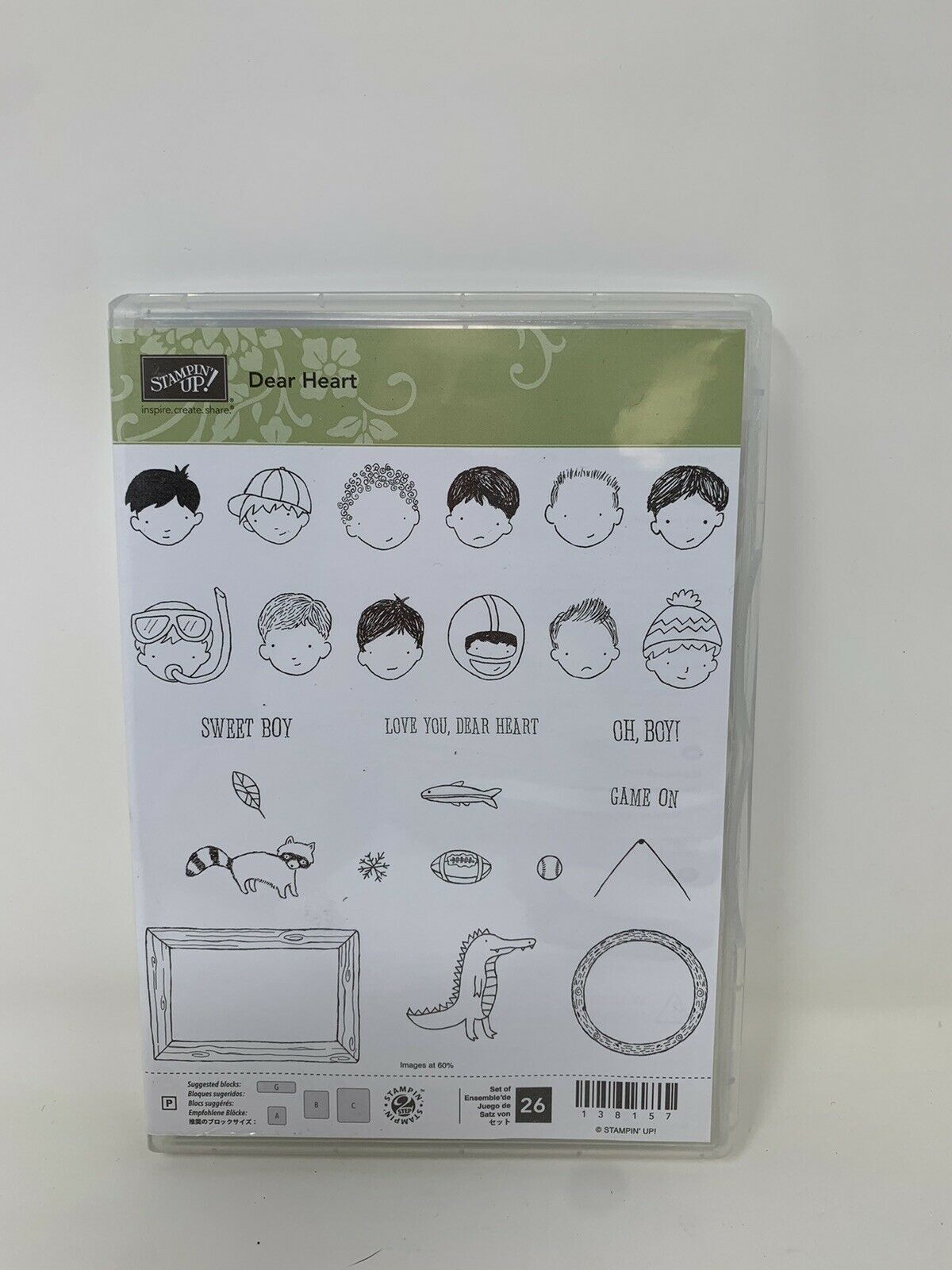 Primary image for Stampin Up! Dear Heart Stamp Set unmounted photopolymer Faces Boys New