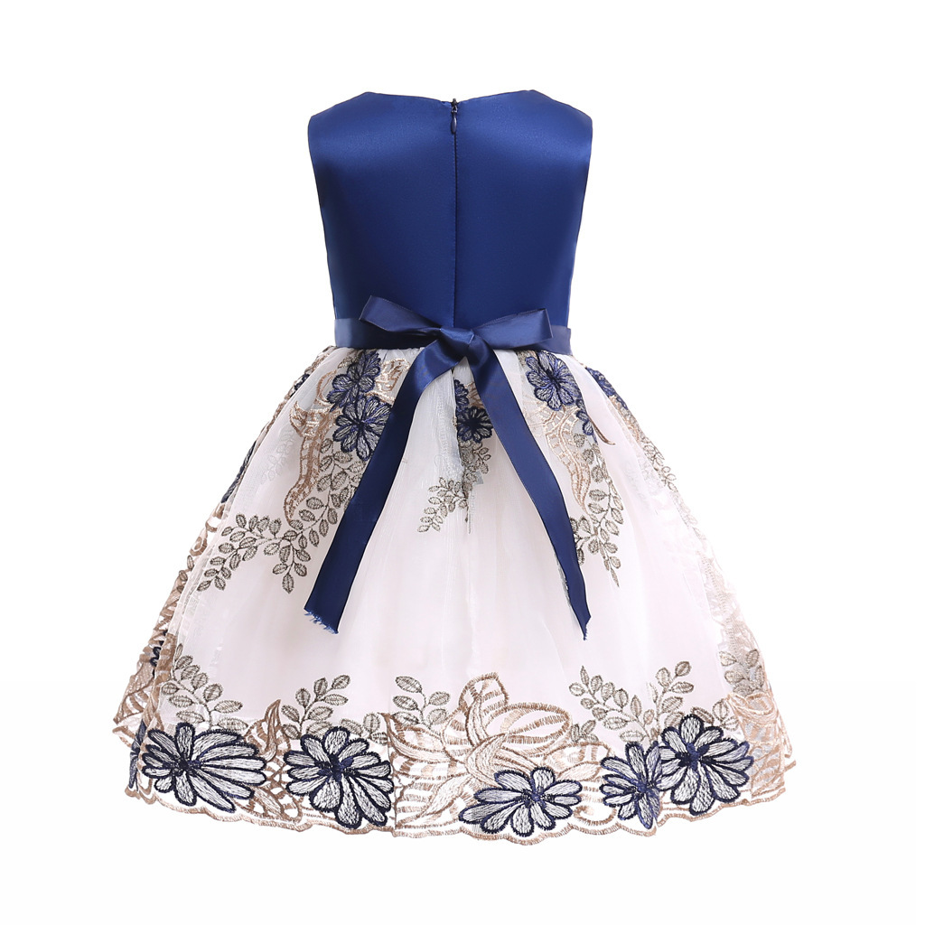 Flower Girls Dress Navy Blue Lace  Wedding Girls Pageant Gowns Ball Gowns Beaded