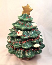 "Ceramic Christmas Tree Cookie Jar 10"" Tall 8"" Wide Classic Snow And Berries - $27.72"