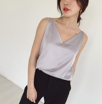 Silver Blue White Sleeveless Chiffon Tank V-Neck Sleeveless Chiffon Casual Tops image 2