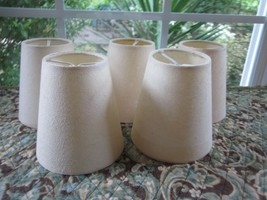 Chandelier Lamp Shades Linen Color Textured Handmade Paper Drum White Cl... - $30.00