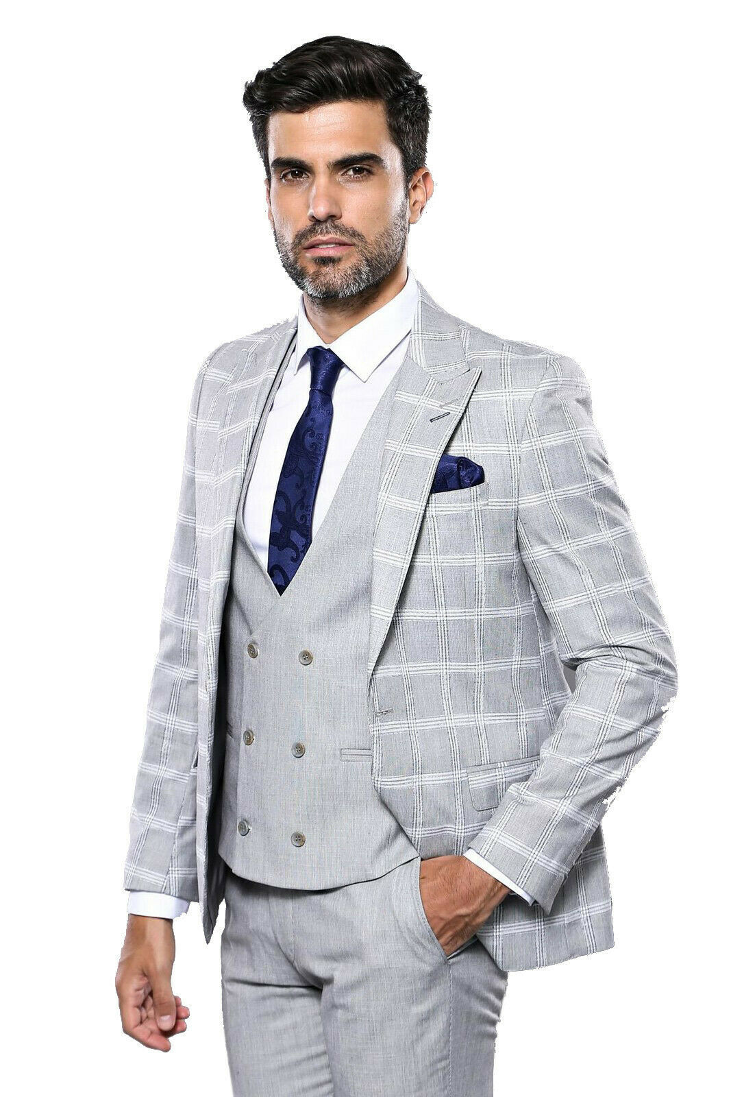 Primary image for Men Three Piece Vested Suit WESSI by J.VALINTIN Extra Slim Fit JV32 Gray Plaid
