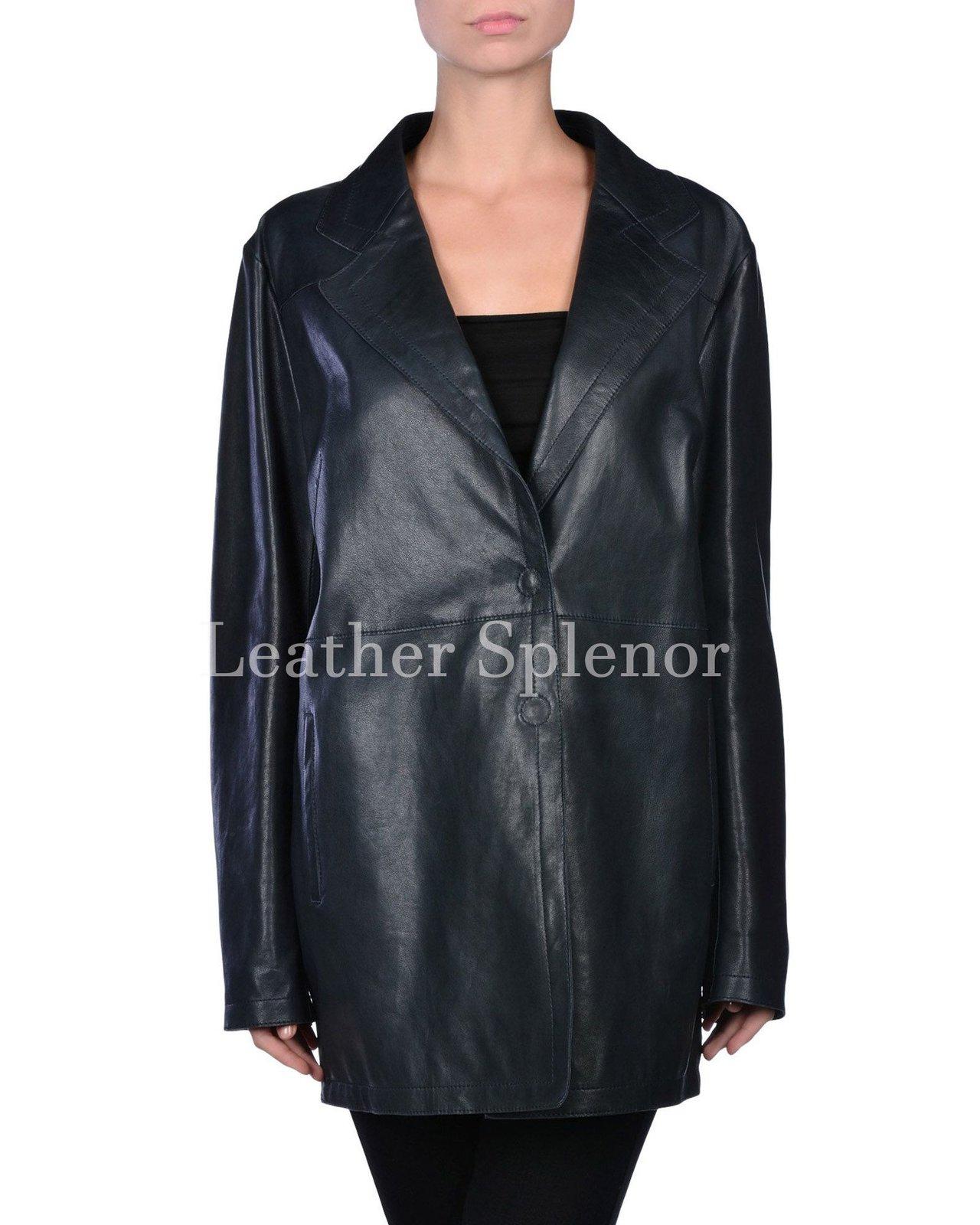 Wide Collar Women Leather Coat