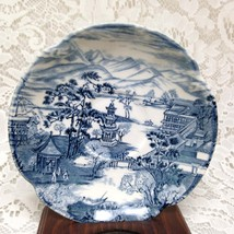 Vintage, Rare, Johnson Bros., England Variant Blue Willow Saucer 6in D - $11.35