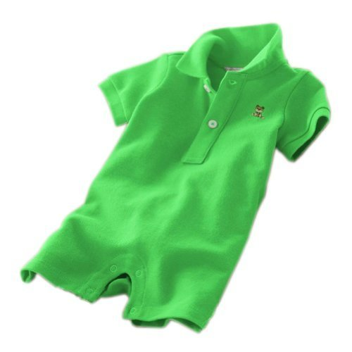 Baby Polo Bodysuit Infant Romper Toddlers Onesies Learn Creeping Climbing Green