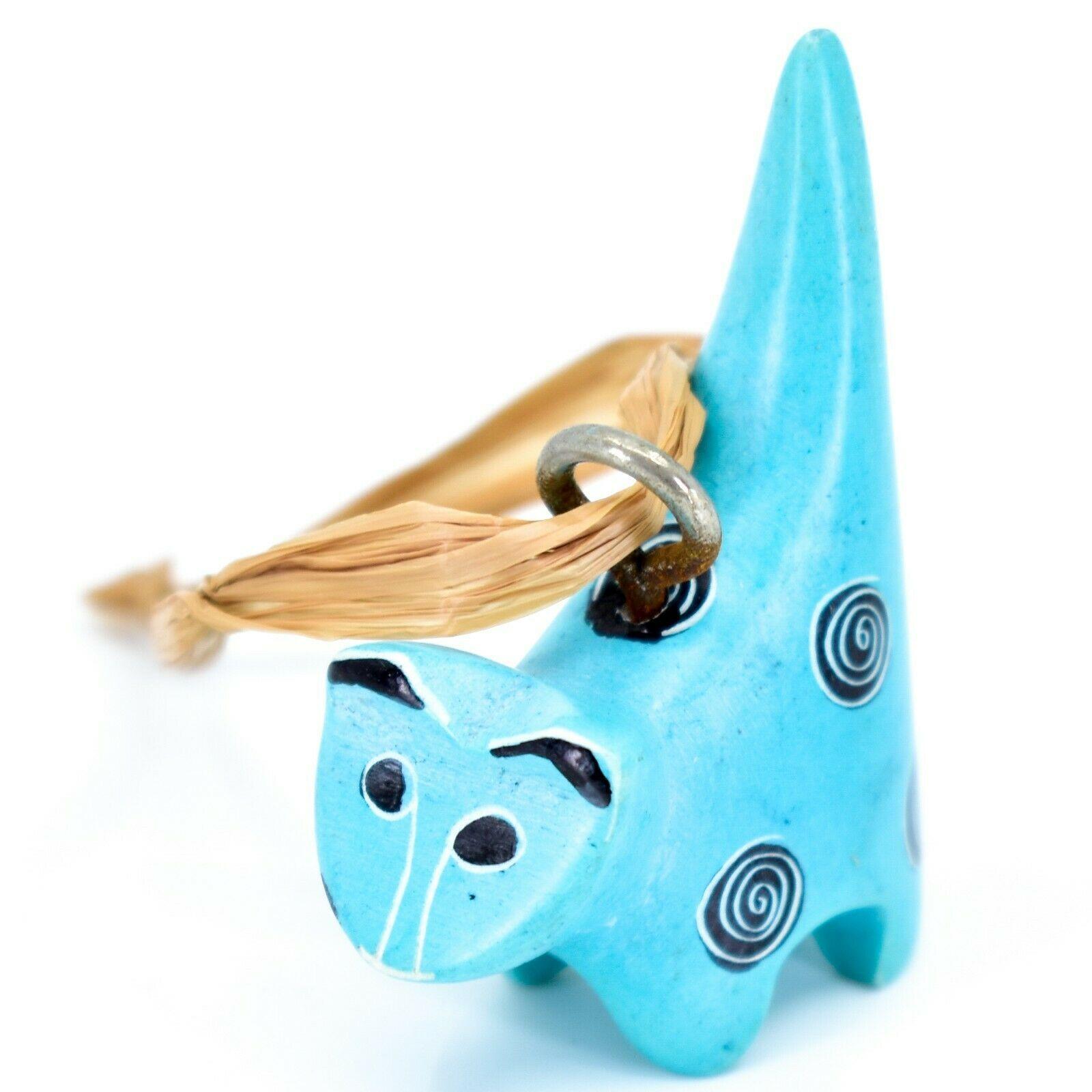 Tabaka Chigware Hand Carved Kisii Soapstone Light Blue Cat Ornament Figure