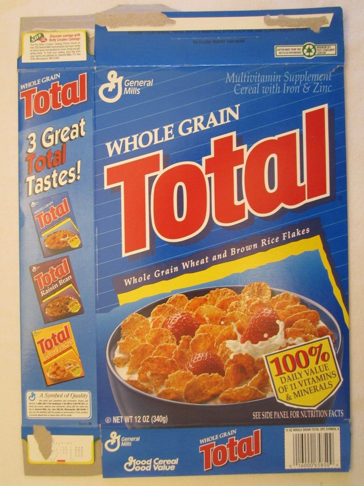 Primary image for Empty GENERAL MILLS Cereal Box 1996 TOTAL 12 oz Ser 48
