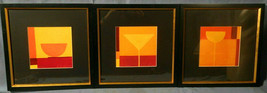 Framed Wall Art Set Lot Picture Print martini sunrise sunset square abst... - $98.99