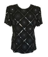80s 100% Silk Silver Fireworks Black Diamond Check Beaded Sequinned Glam... - $36.00