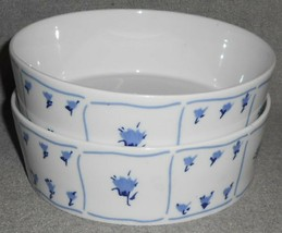Set (2) Block BLUE FIELDS PATTERN Coupe Cereal Bowls MADE IN PORTUGAL - $31.67