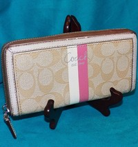 Coach Light Khaki Pink Heritage Stripe Accordian Zip Around Logo C Wallet 43554 - $119.99