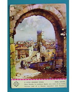 SPAIN Arab Fortress near Town of Ronda - 1940s Color Ink Blotter Print - $5.36