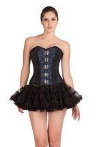 Blue Black Brocade Burlesque Gothic Bustier Overbust Tutu Skirt Corset Dress - $69.62