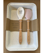 Rae Dunn HIP HOP White Pink 3 Piece Baking Set Metal Pan Spatula Spoon E... - $19.99