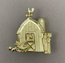 Farm Barn Brooch Pin Gold Tone Signed AJC Vintage Farmer Animals - $12.58