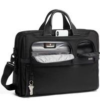 Tumi Alpha 3 Compact Large Screen Laptop Briefcase Black Ballistic Nylon... - $367.99