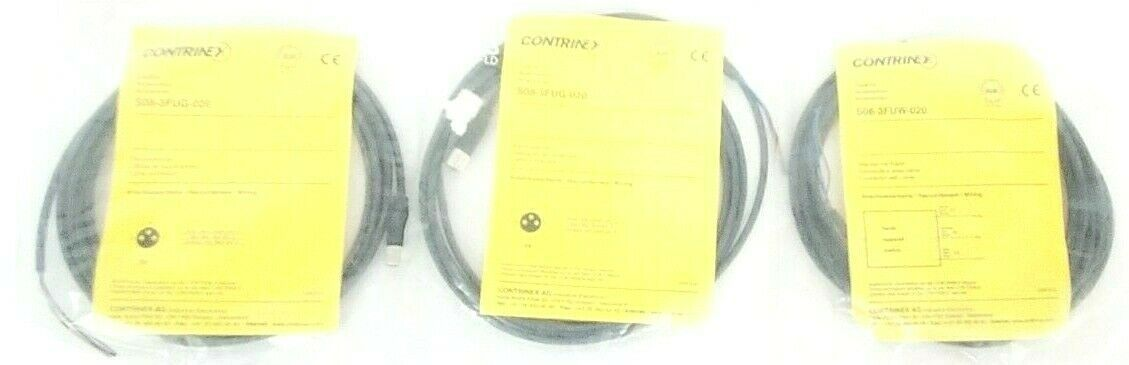 LOT OF 3 NEW CONTRINEX S08-3FUW-020 CONNECTORS W/ CABLES S083FUW020