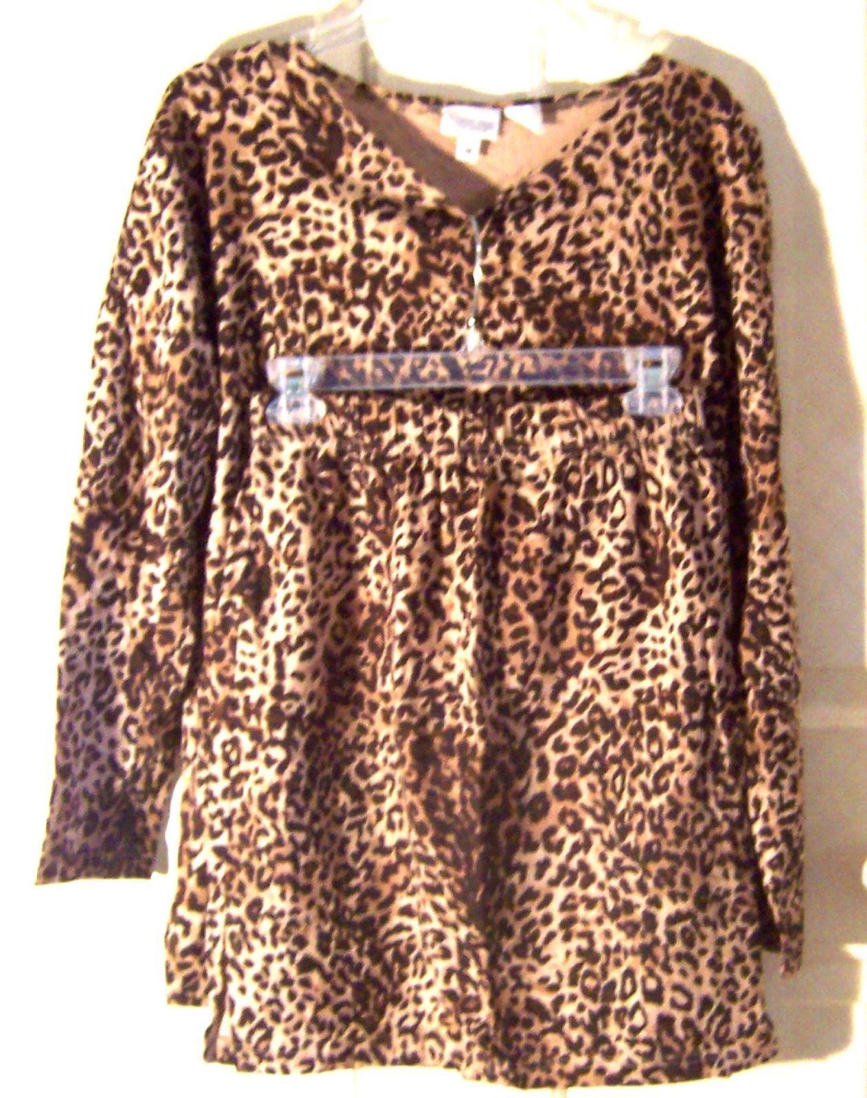 Newport News Animal Print Long Sleeve Top and Skirt Set Size Medium  - $47.49