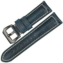 MAIKES Vintage Oil Wax Leather Watch Strap 22mm 24mm 26mm Watchband with... - $18.27