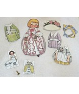 Older Dolly Dingle Paper Doll 8 PC Dress Hat Costumes 6 1/4 Inches Great... - $9.41