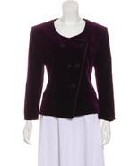 Christian Dior Structured Velvet Jacket Blazer 10 M Purple Vintage Cotton - $99.95