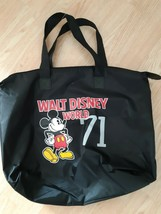 Walt Disney World Parks 71 Mickey Mouse Nylon Tote Bag Zipper Closure Black - $18.63
