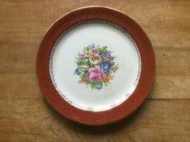 "Red Floral PEGASUS by SEBRING  9.25""  Plate 22K Gold Trimmed USA - $9.50"