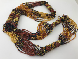 Brown and Gold Continuous Strand Beaded Necklace - $18.99