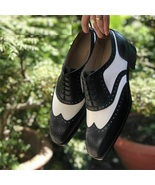 Handmade Men Black & White Leather Laceup Shoes - $149.99