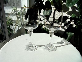Set of 2 Bohemia Crystal Julia Gold Pattern Clear Wine Glasses - $17.82
