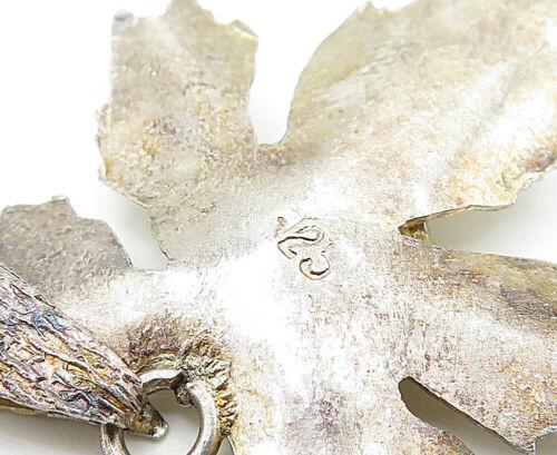 925 Sterling Silver - Vintage Turquoise Gold Tone Autumn Leaf Pendant - P6147 image 5