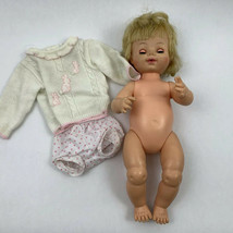 Vintage Horsman Baby Doll 16 Inch 1969 w/ Bow Blonde Hair Sleepy Eyes - $14.00