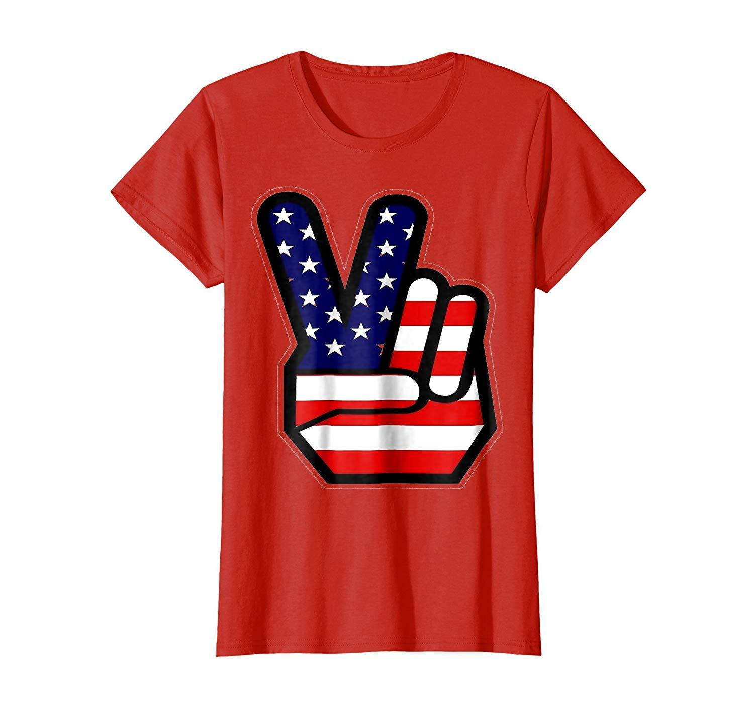 Funny Shirt - 4th of July Shirt Peace Sign Hand USA American Flag Kids Wowen