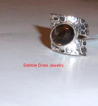 Brown Smoky Quartz Oval Solitaire Cigar Band Ring, 925 Silver, Size 6, 3... - $25.00