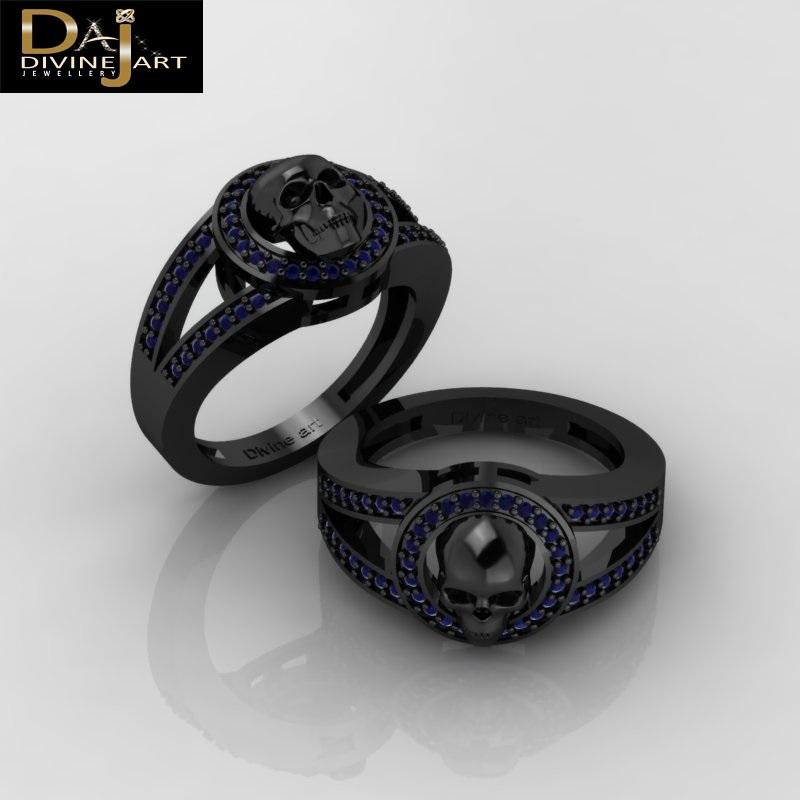 Blue Diamond Skull Engagement Ring Gothic Witchy Vapor