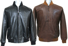 Polo Mens leather jacket Soft wax Ribbed collar cuff waist Bomber Gents ... - $193.27+