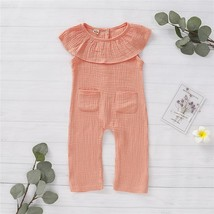 Newborn Ruffles Pocket Rompers Pudcoco Cotton Summer Outfits Baby Kid Gi... - $8.69