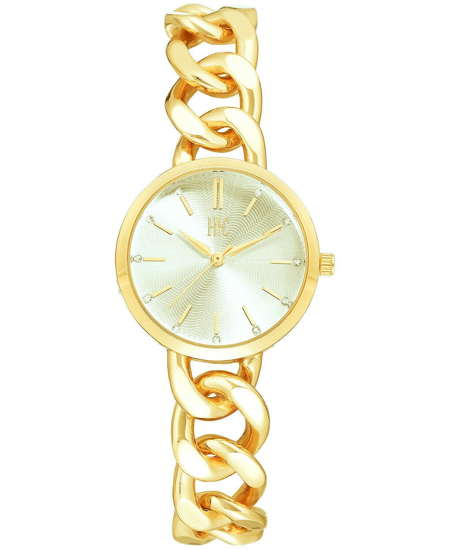 I. N.c. Damen Gold Ton Kubanisch Kette Kristall Ziffernblatt Armband Quarz 30mm