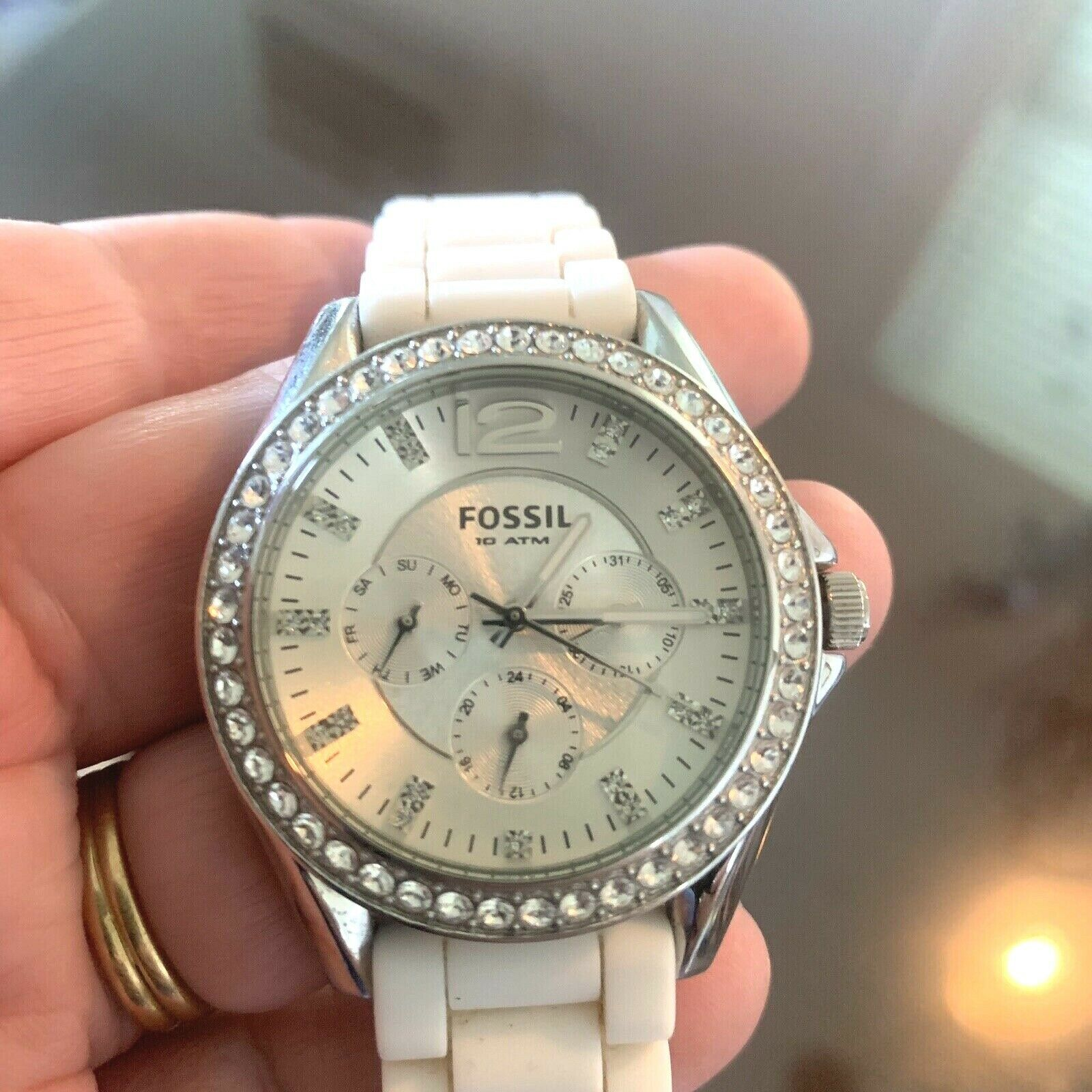 Primary image for Fossil Ladies' Silicone Comfort Band Multifunction Watch White NEW BATTERY