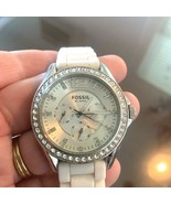 Fossil Ladies' Silicone Comfort Band Multifunction Watch White NEW BATTERY - $49.45