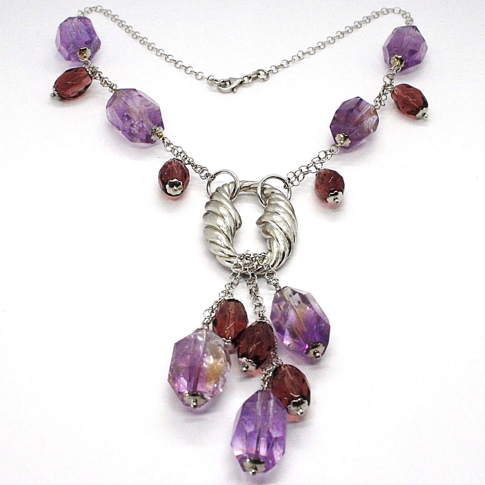 Silver necklace 925, FLUORITE OVAL Faceted Purple Cluster Pendant