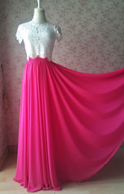 Plus Size Maxi Chiffon Skirt A-Line Chiffon Wedding Skirt Orange image 13