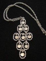 "Vintage Waterfall Necklace Chandelier Style 5"" Long Pendant Silver Toned... - $72.22"