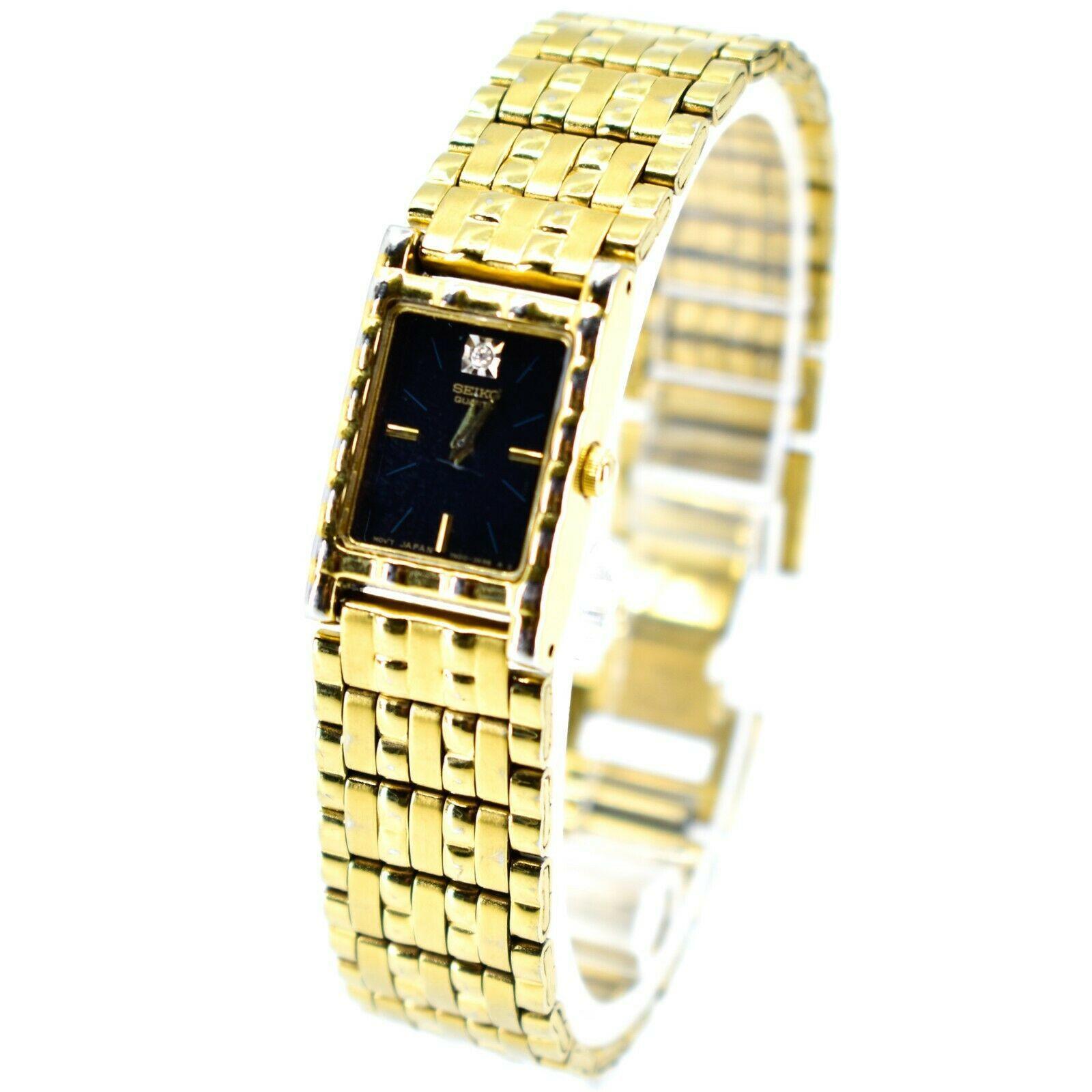 Seiko 1N00-6C09 Gold Tone Stainless Rectangle Diamond Accent Quartz Wristwatch
