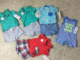 Boy Newborn NEW LOT  Pack of One-Piece Sets & Shorts  Size NB Cat & Jack - $18.69