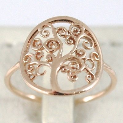 GOLD RING PINK 750 18K WITH TREE OF LIFE, CIRCLE, MADE IN ITALY