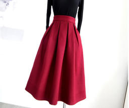 Winter Long Pleated Skirt Warm Woolen Midi Pleated Party Skirt BURGUNDY BLACK image 4