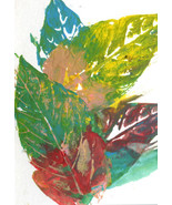 fall leaves abstract original aceo art painting miniature plants autumn ... - $6.99